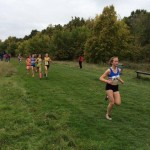 Maisie Jeger in the lead on the 1st leg of the under 13 race